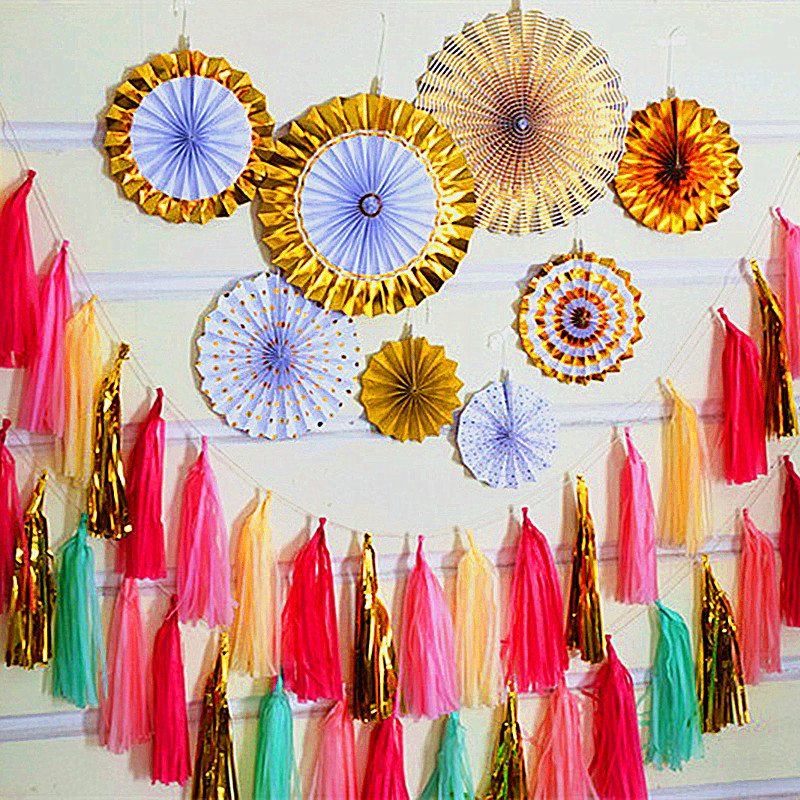 Us 0 87 15 Off 5pcs Tissue Paper Tassel Garland Diy Wedding Decoration New Year Christmas Garland Paper Flower Birthdays Party Decoration In Party