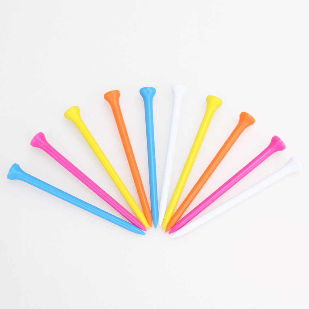 100Pcs/Pack Mixed Color 10cm/3.9inch Professional Zero Friction Plastic Golf Tees Golf Equipment Outdoor Sports Golfer Aid 2017