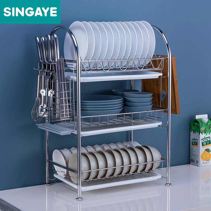 SINGAYE Three Layers Kitchen Shelf Dish Rack Set 304 Stainless Steel Plate Dish Cutlery Cup Rack & SINGAYE Three Layers Kitchen Shelf Dish Rack Set 304 Stainless Steel ...