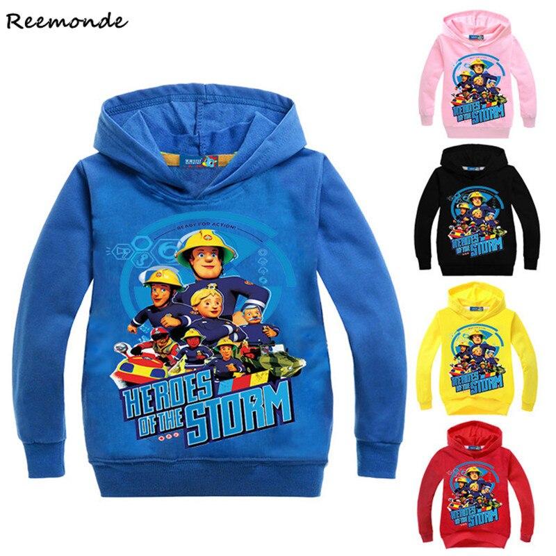 Animation Fireman Sam Cosplay Costumes Lovely cartoon Hoodies Sweatshirts Pants For Kids Girl Boy Christmas Party Uniforms Set