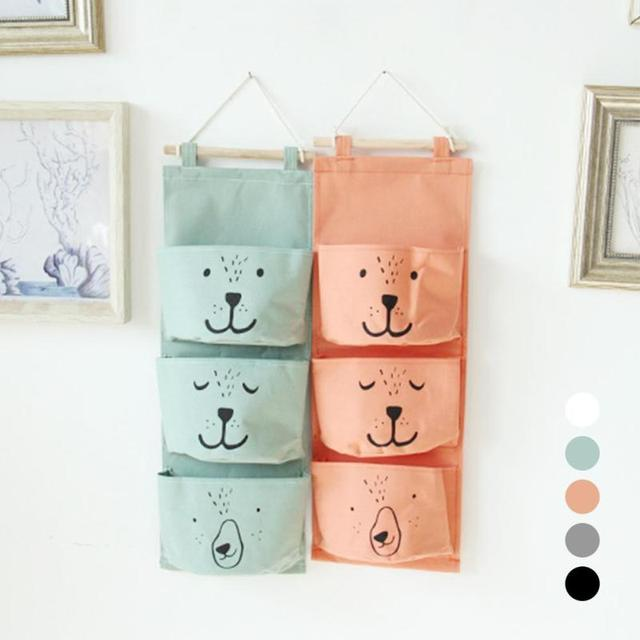 Wall Hanging Storage Bag 3 Pocket Fabric Linen Wall Mounted Wardrobe Closet Hang Bag Wall Pouch Sundries Toy Organizer A55