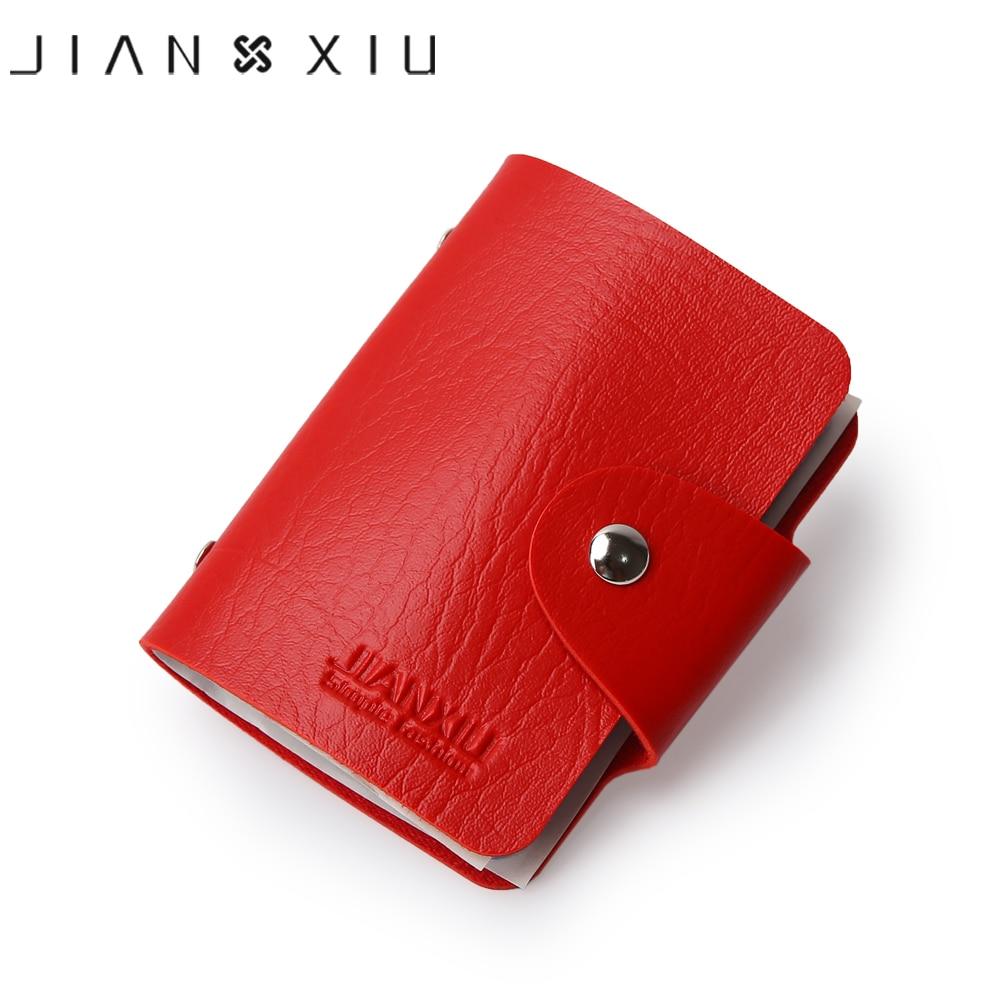 JIANXIU Brand PU Leather Card Case Business Card Holder Men Women Credit Card Bag 2018 Fashion Multi - bit Design ID Card Bags