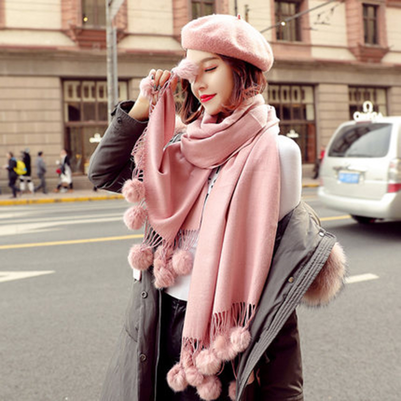Warm Winter Wool Cashmere  Pom Scarf Pink Thick With Rabbit Fur Ball Pashmina  Large Stole Lady Wrap Shawl Oversize Blanket