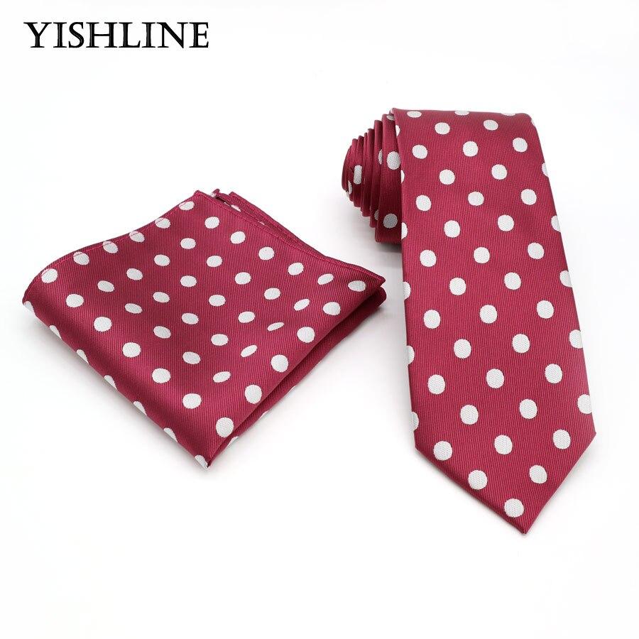 T058 Men`s Classic Tie 100% Silk Jacquard Woven 8CM Dark Red Polka Dot ( Necktie Hanky Sets ) For Man Wedding Business Party