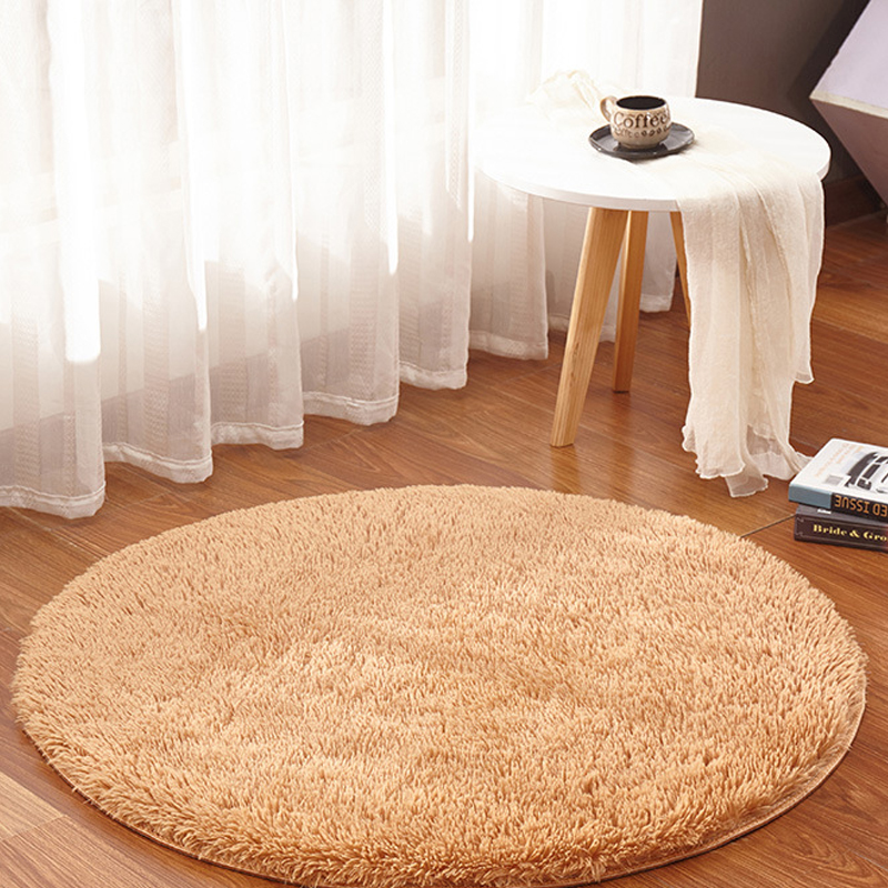 Enipate Fluffy Round Rug Carpets for Living Room Kilim Faux Fur Carpet Kids Room Long Plush Rugs for Bedroom Shaggy Area Rug