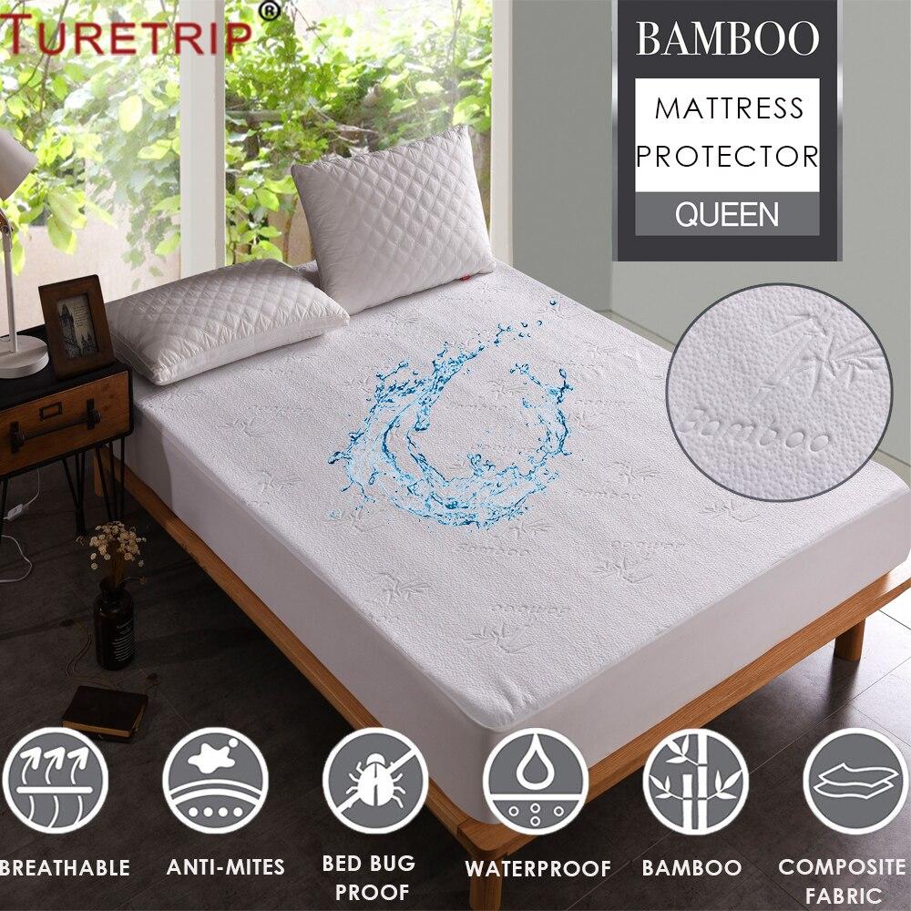 Turetrip Jacquard Bamboo Mattress Cover Bed Waterproof Mattress Protector Anti Bed Bugs Mattress Cover Housse De Matelas