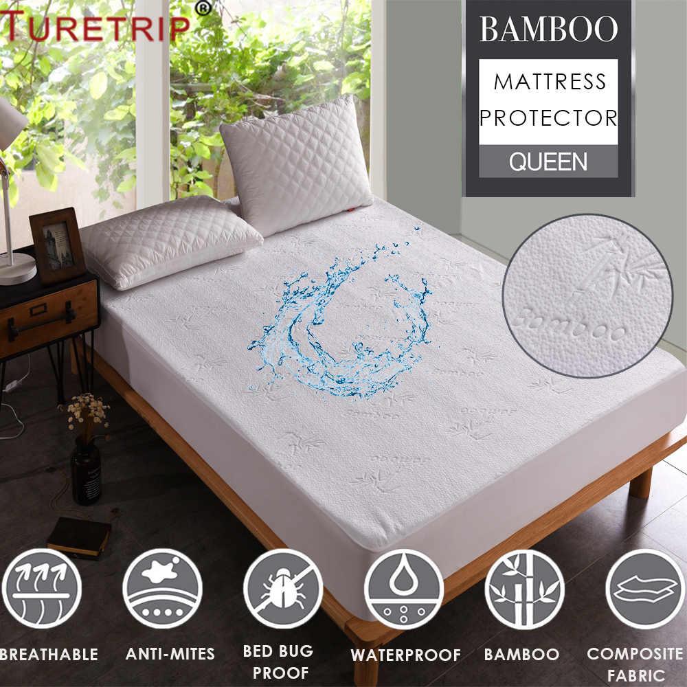 nouveau concept 845c7 15cf0 Turetrip Jacquard Bamboo Mattress Cover Bed Waterproof ...