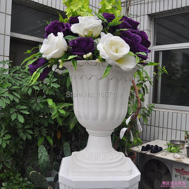 White Europe Type Of Flower Pot For Roman Column Plastic Wedding Decoration 4pcs Lot