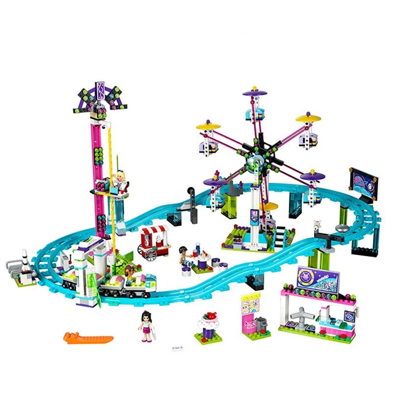 01008 1024pcs Lepine Amusement Park Roller Coaster figure Model building blocks toys for kids Compatible Legoe Friends 41130 lepine model