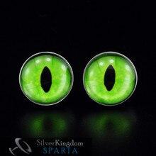 Спарта реалистичные зеленые глаза Дракона покрытые белым золотом Запонки мужские+! Высококачественные металлические пуговицы