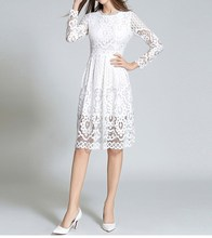 New 2019 Women Summer Hollow Out Long Sleeves Party Dress Elegant O-Neck Lace Dress Bohemian High Waist Solid A-Line Dresses ladylike style solid color scoop neck lace long sleeves slimming burnt out dress for women