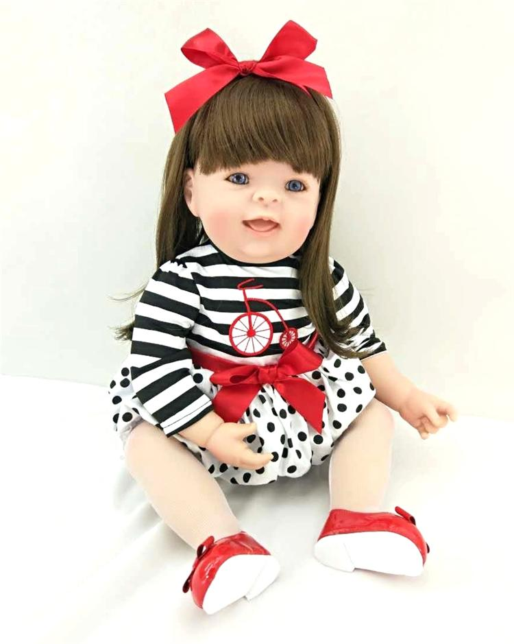 Pursue 20/50 cm Adorable Red Headband Soft Vinyl Silicone Reborn Toddler Princess Girl Baby Doll Toys for Children Birthday Toy adorable soft cloth body silicone reborn toddler princess girl baby alive doll toys with strap denim skirts pink headband dolls