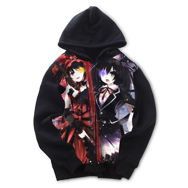 Anime Date A Live Tokisaki Kurumi Cotton Hoodie Pullover SweatShirt Casual Coat