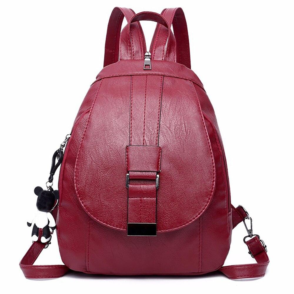 Bolsas para mujeres 2019 mochila De Cuero mochila femenina Bolsa multiusos de doble uso bolsa de pecho dos bolso de cuero suave para madre