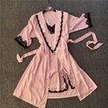 A Estrenar 2 UNID Sólido Encaje Satinado Robe y Conjunto Albornoz de Las Señoras Atractivas Del Verano de Las Mujeres Vestido de Casa Camisón Kimono Twinset Sleepwear1904