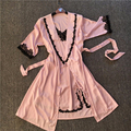 Brand New 2PC Solid Lace Satin Robe & Nightgown Set Women's Bathrobe Sexy Ladies' Summer Home Dress Kimono Twinset Sleepwear1904