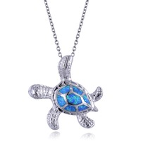 Blue Opal Necklace Animal Choker Pendant Turtle Fashion Jewelry For Women&Girl Summer Gift Stainless Steel Chain