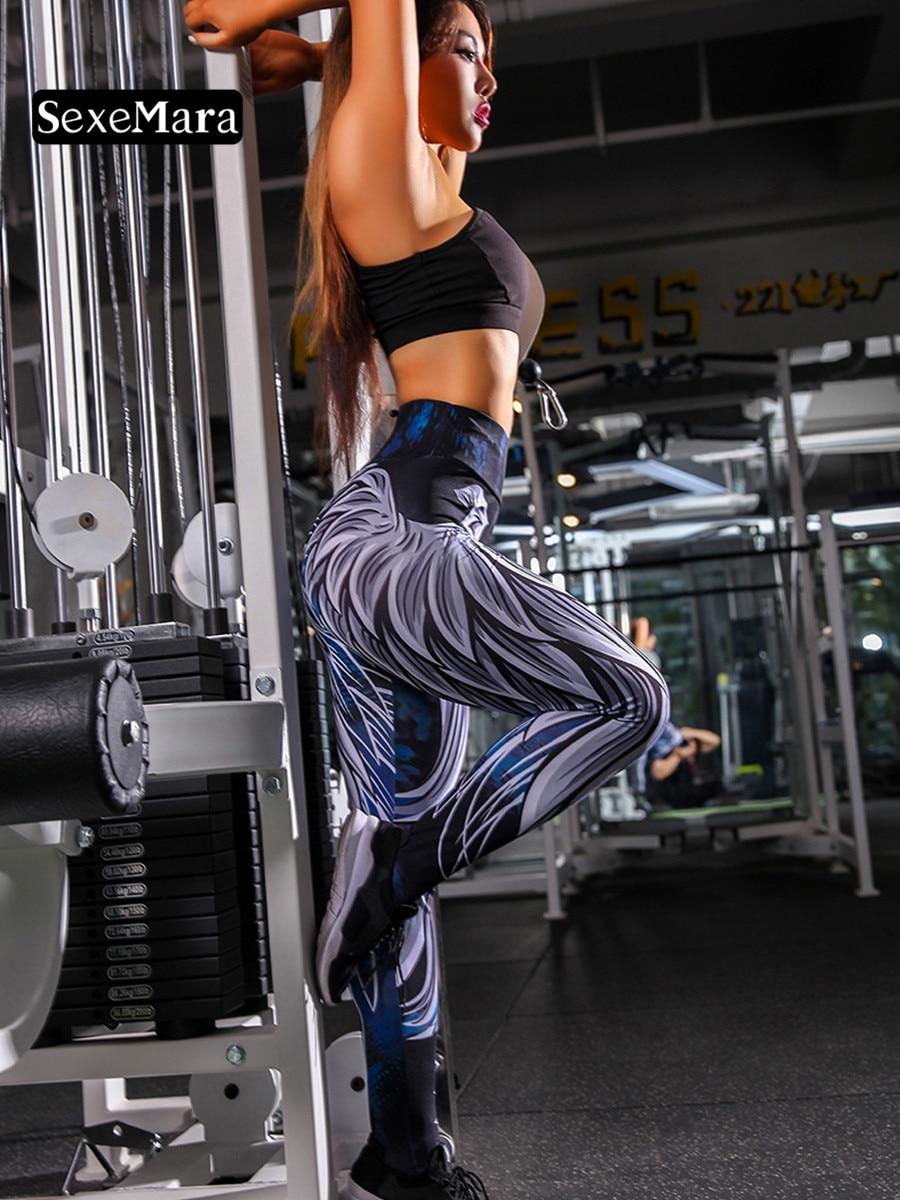 SexeMara Angel Wings Digital Printing Sports Leggings Hip High Waist Bodybuilding Pants
