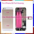 """Preto Branco Ouro Rosa 4.0 """"para iphone 5s full frame médio liga de metal habitação porta da bateria caso tampa traseira assembléia cabo flex"""