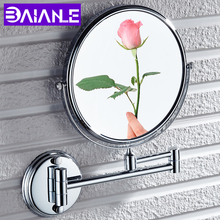 Bathroom Mirror Stainless Steel Folding Cosmetic Mirror Wall Mounted Gold Make Up Mirror Magnifying Rotate 2 Face Dual Arm Exten недорого