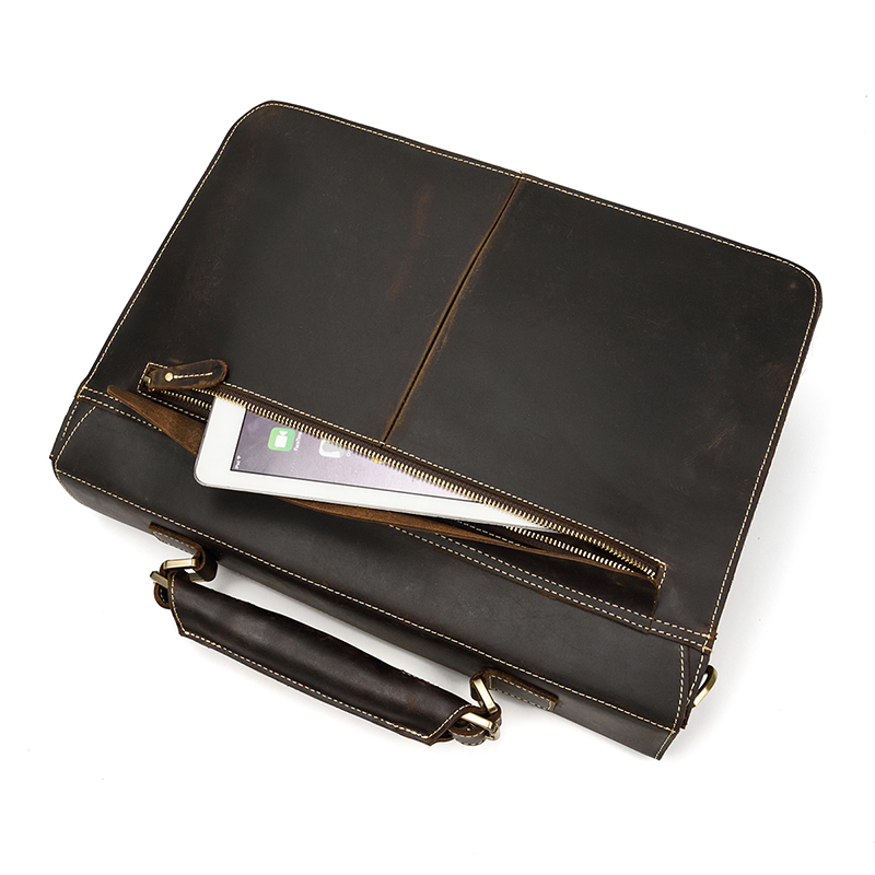 "HTB12gVOXEjrK1RkHFNRq6ySvpXa4 Vintage Men's Genuine Leather briefcase 16"" Cowhide Business bag Cow leather Laptop Double Layer messenger bag PC work tote"
