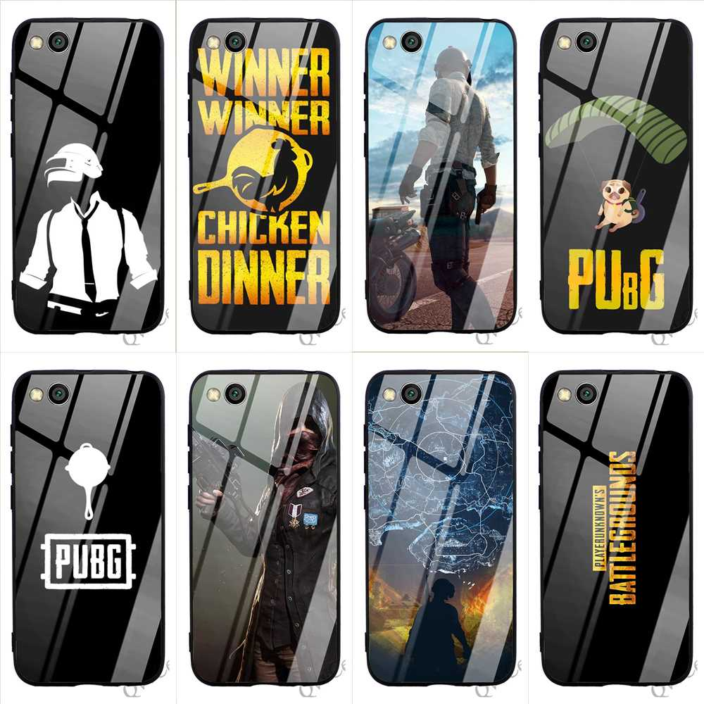 Colorful PUBG Game Art Tempered Glass Phone Cover for Xiaomi 8 Case A1 A2 9 F1 Lite Redmi Note 7 Pro 4X 6A 5 6 Covers Back image