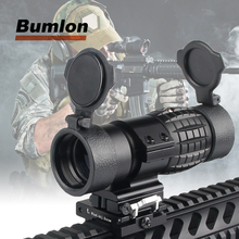 Tactical 30mm 3X Magnifier Scopes Optics Focus Adjusted Fits Red Dot Sight with Picatinny Weaver Rail Mount With Covers HT6-0067 недорого