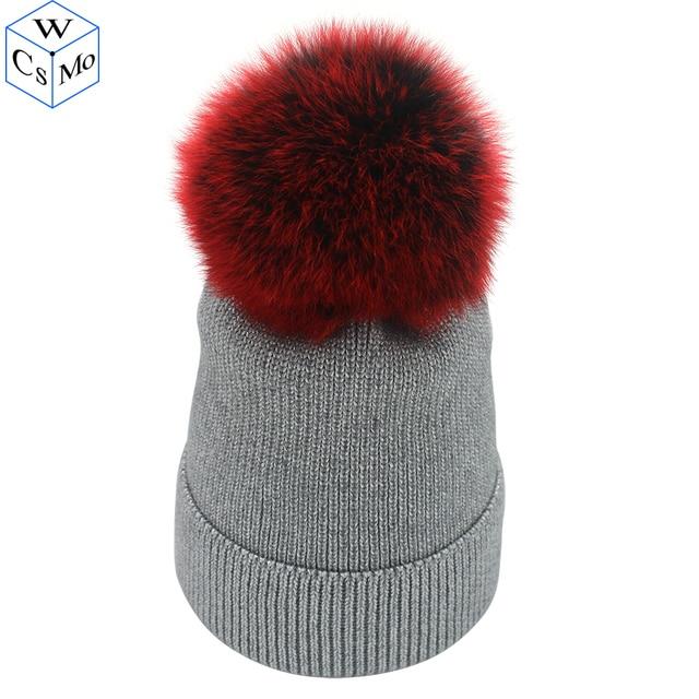e12c37f3d26 2018 Real Fox Fur Pompom Beanies Women Bling Hat With Silver Wire Winter  Warm Knitted Hats Gorra Female Hair Cap Female Bonnet