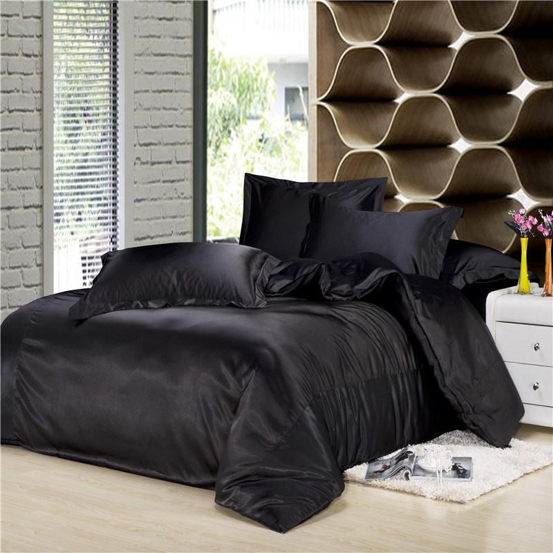 Buy Satin Pillowcase Nz: Black Silk Bedding Set Luxurious Bedding Silk Duvet Cover