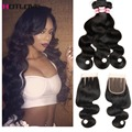 Grade 8A Malaysian Body Wave With Closure Derun Hair 4 PCS Wet And Wavy With Closure Malaysian Virgin Hair With Lace Closure