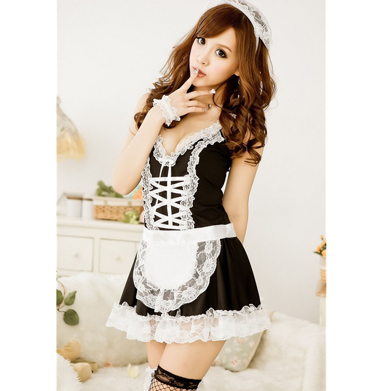 Best Sales New sexy Maid Costumes Sexy Party Cosplay Fantasy Women Erotic Apparel French Style Cubwear Top Quality