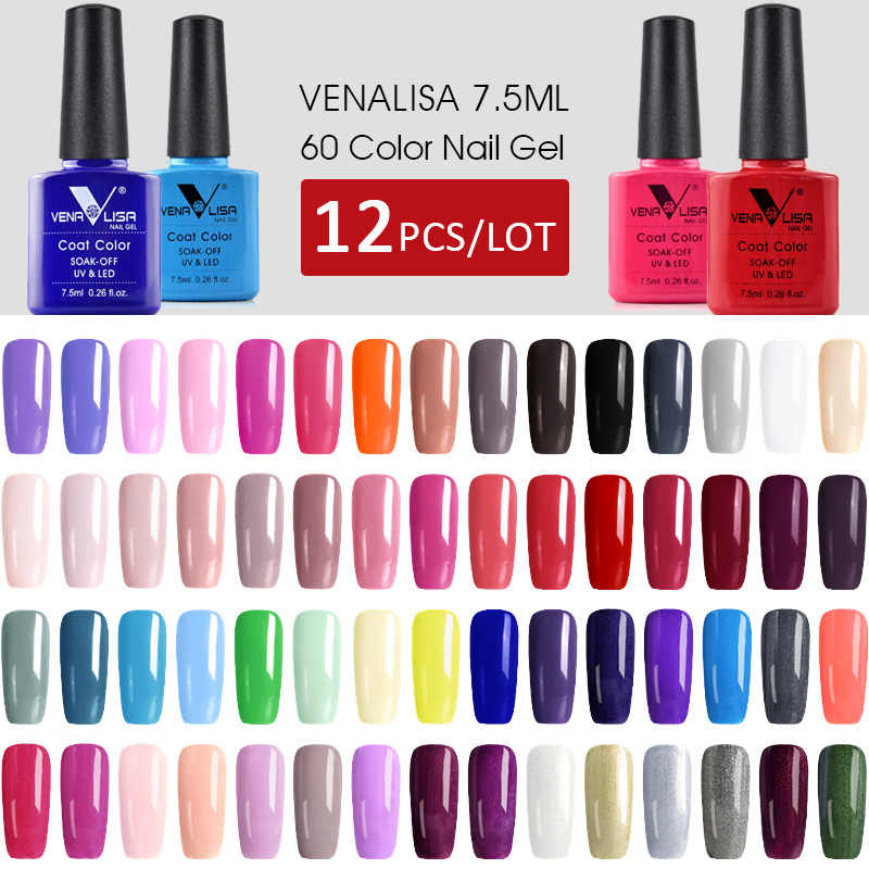 12pcs*7.5ml VENALISA Gel Varnish Fast Shipment Original Nail Art Manicure 60 Colours Soak Off Gel Lacquer LED UV Gel Nail Polish