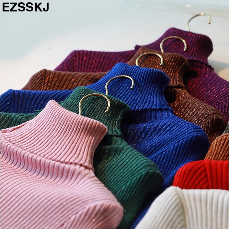 Glitter Women Winter Sweater Shiny Autumn Turtleneck Pullovers Lady Sweaters Basic Female Black Knit Sweater Long Sleeve