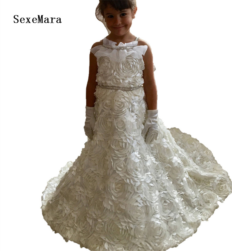 Little Princess Dresses Flower Girls Gowns Kids Party Dress White Ivory Communion Dress with Train Floral Lace Custom Made SizeLittle Princess Dresses Flower Girls Gowns Kids Party Dress White Ivory Communion Dress with Train Floral Lace Custom Made Size