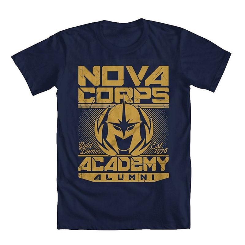 T Shirts 2018 Brand Clothes Slim Fit Printing Short Guardians of the Galaxy Nova Corps Mens T-Shirt Short O-Neck T Shirts