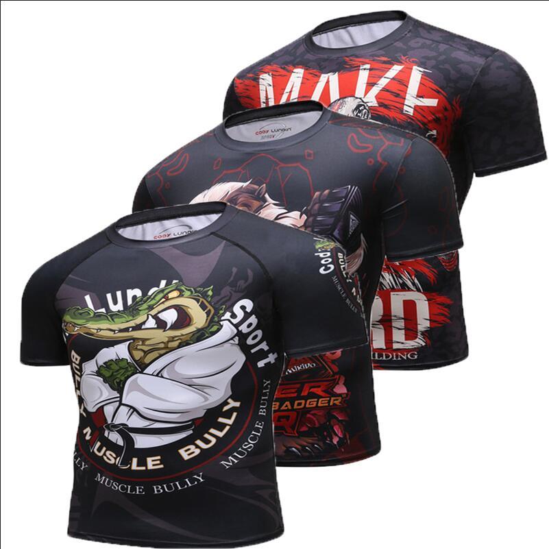 2018 Nova Compressão Camisa Rashguard Manga Curta 3D Imprimir Musculação  Aptidão Crossfit MMA BJJ Jiu Jitsu T-shirt dos homens Tops 05abcd58e6287