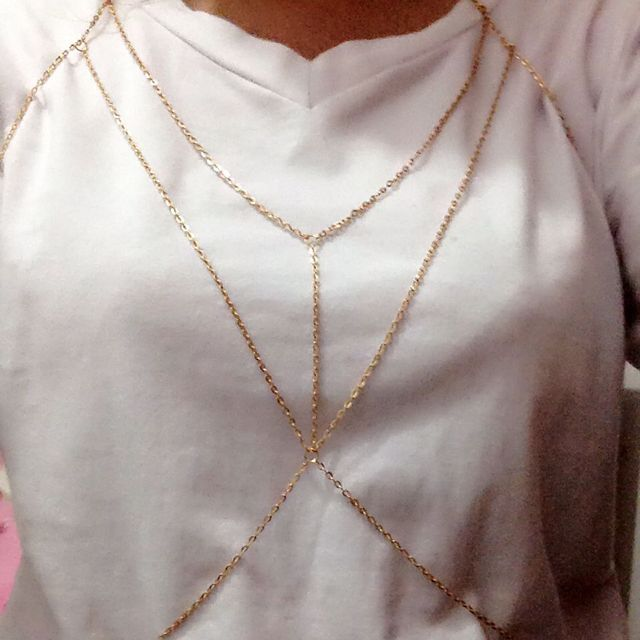 32674a1e54 Vintage Gold Silver color Body Chain Jewelry women Multilayer Sexy Beach  Bikini Harness Chain Necklace Women