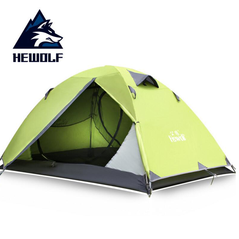 Hewolf Ultralight 2 person Outdoor Tent Double Layer Waterproof Travel Camping Hiking Tent 4 Seasons Beach Tourist Tents