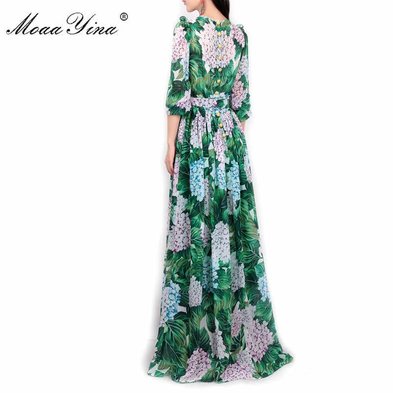 MoaaYina, летнее подиумное макси платье, женское, с длинным рукавом, повседневное, богемное, вечерние, праздничное, с зелеными листьями, с цветочным принтом, длинное платье