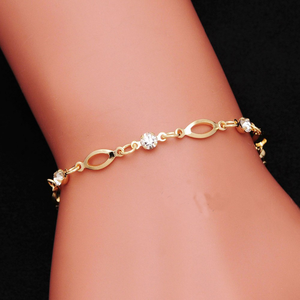 2018 Fashion Crystal Charm Bracelets For Women Gold Color Link Chain Cuff Bracelet Bangles Jewelry Pulseras Valentines Day Gift
