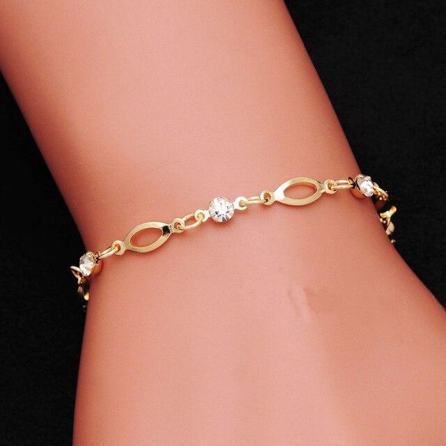 2018 צבע זהב שרשרת קישור צמידי קסם גביש נשים אופנה תכשיטי צמידי צמיד שרוול pulseras מתנת יום האהבה