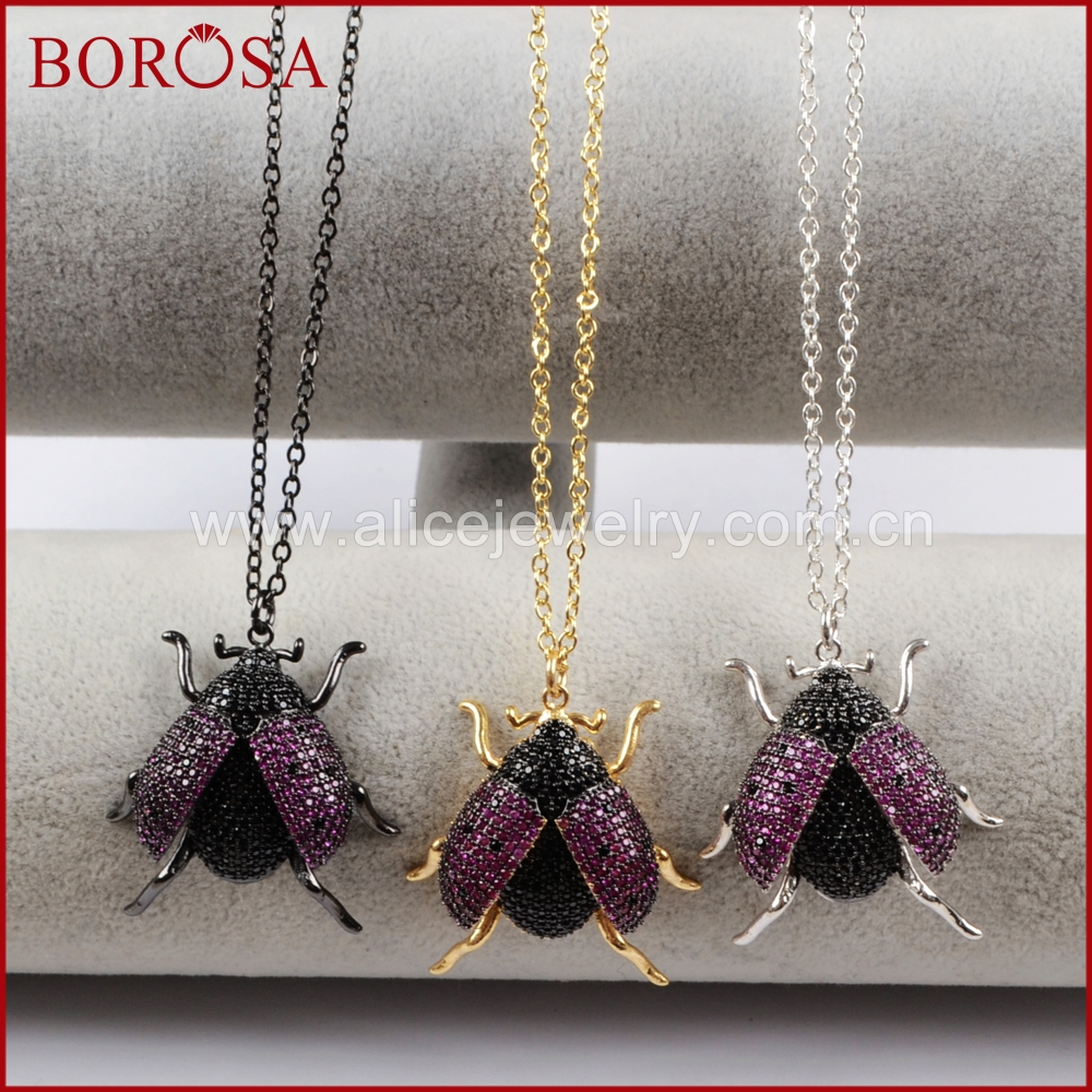 BOROSA 5PCS Mixed Colors Micro Pave CZ Beetles Pendant Necklace for Women Crystal Zirconia Insects Ladybugs