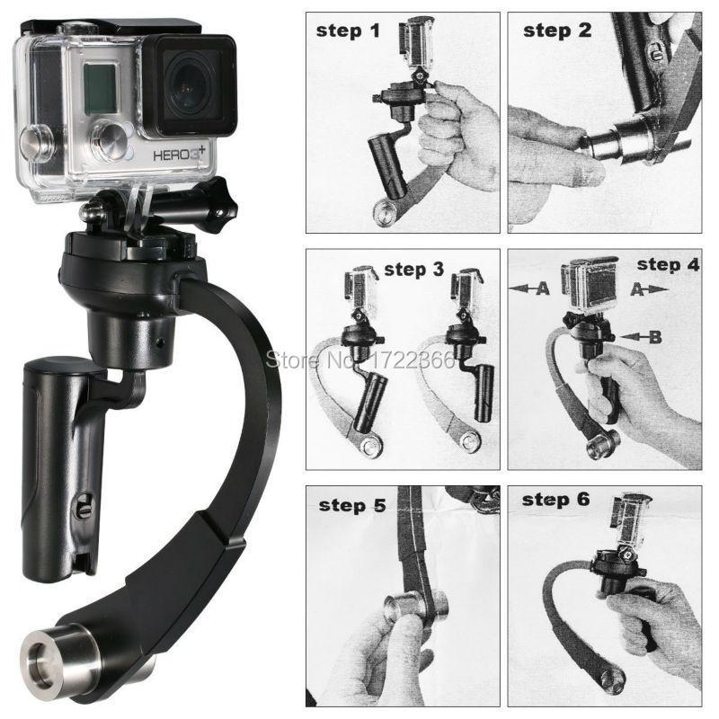 השחור החדש Pro כף היד מייצב יציב Steadycam קשת צורה xiaomi יי מצלמת Gopro Hero HD 4 3+ 3 2 1 sj4000 משלוח חינם