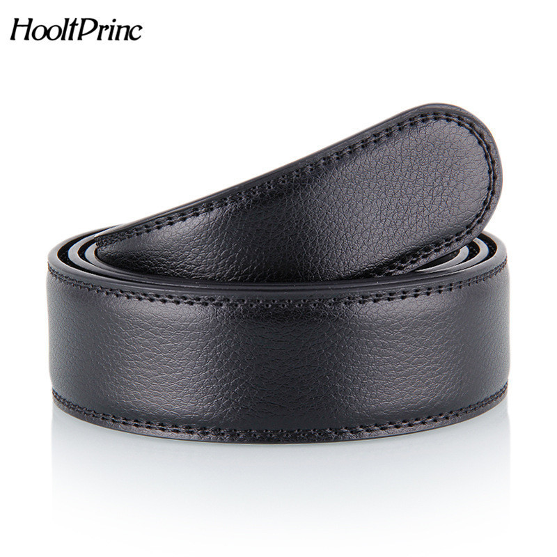 HooltPrinc No Buckle Designer Mens Belts Body 3.5cm Wide Split Leather High Quality Men Automatic Belt Body Kemer Black Coffee