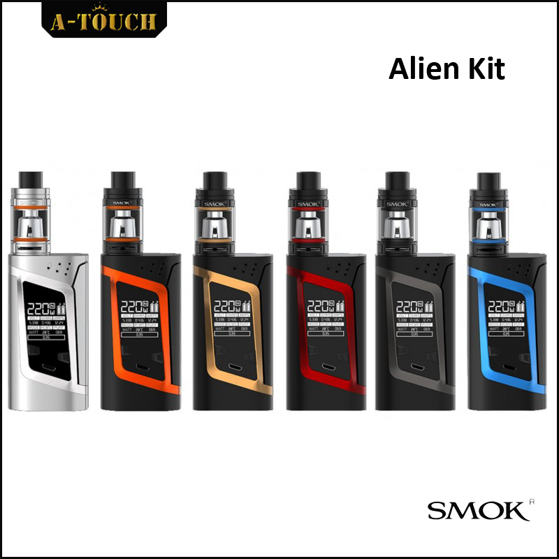 100% Original 220W SMOK Alien electronic cigarette mod with 3ml Smok TFV8 Baby Tank Atomizer kit V8 Baby-T8 V8 Baby-Q2 Core original 220w smok alien vape kit with 3ml smok tfv8 baby tank atomizer