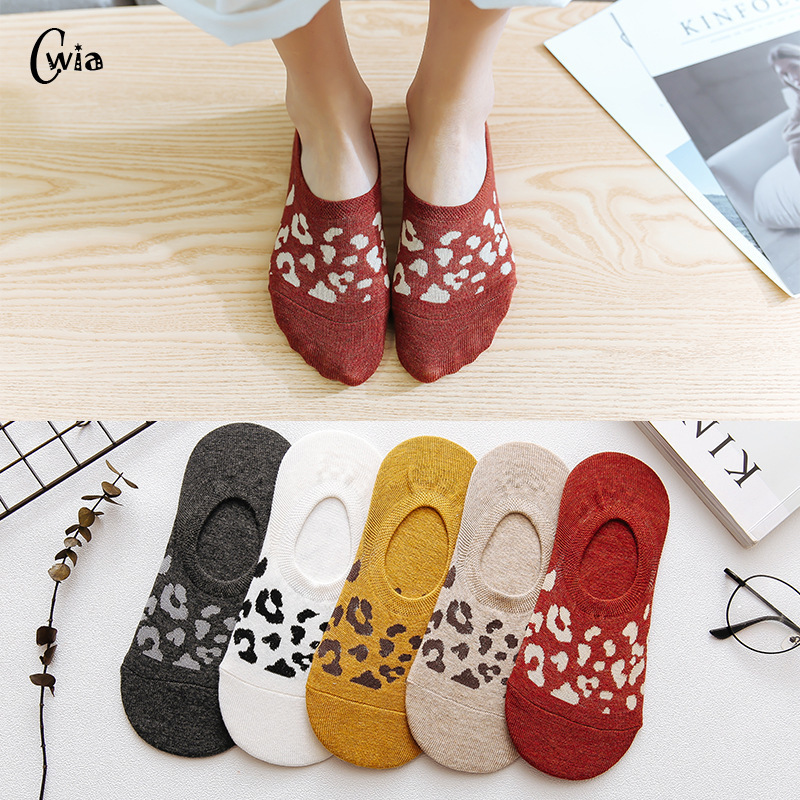 Leopard Invisible SNon-slip Hort Woman Summer Comfortable Cotton Girl Women Boat Socks Shallow Ankle Low Female 1pair=2pcs Ws192