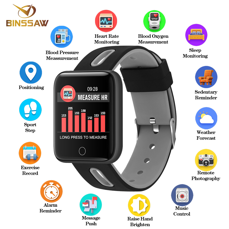 Impartial Binssaw Men Women Smart Watch Sport Step Blood Pressure Bluetooth Smartwatch Led Large Color Touch Screen Android Ios With Box Carefully Selected Materials Digital Watches Watches
