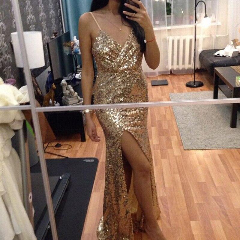 DRESSMECB Oro Sequin Maxi Vestito Da Sera Elegante Paillette Abito Sexy di  alta slit Dress spaghetti strap scollo a v abiti da sirena in DRESSMECB Oro  ... 5b6d722cfe5