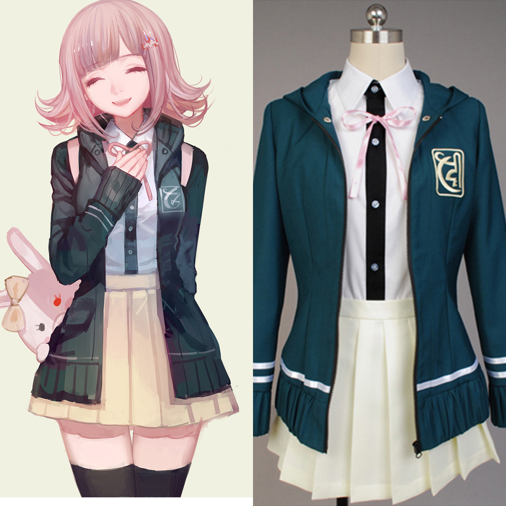 Super DanganRonpa Cosplay Chiaki Nanami Costume Japanese Anime Costume by Custom made Full Set school uniform