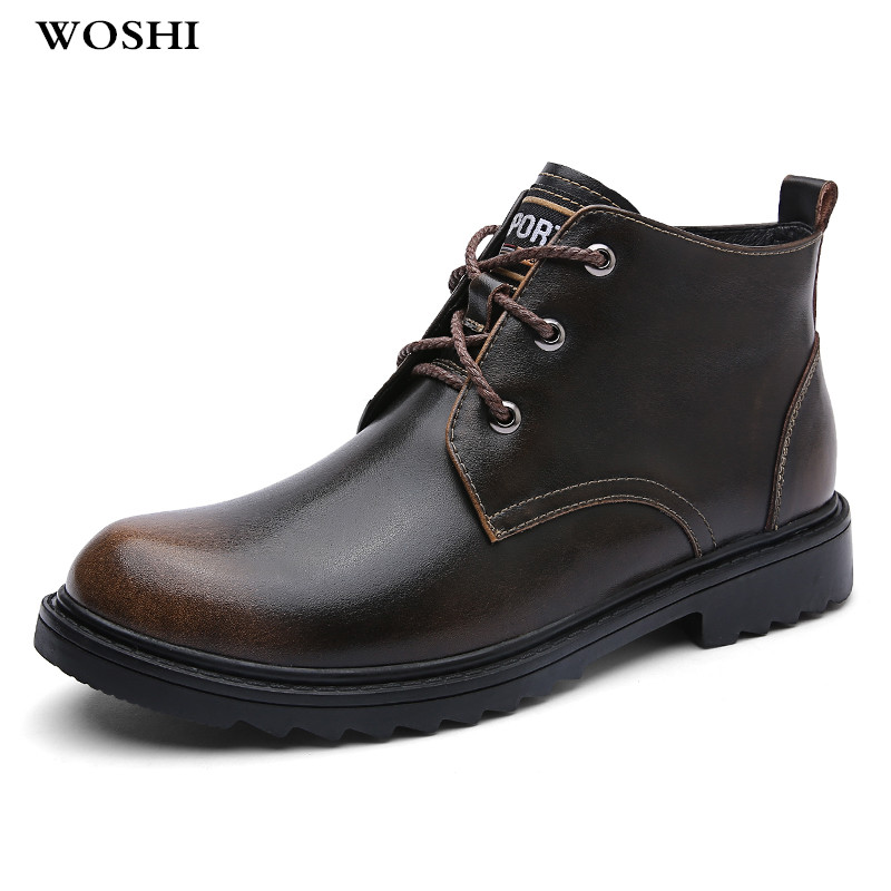 купить Outdoor Genuine Leather keep warm Men snow Boots Winter with Fur comfortable casual Boots men Fashion Lace Up men Shoes w4 онлайн